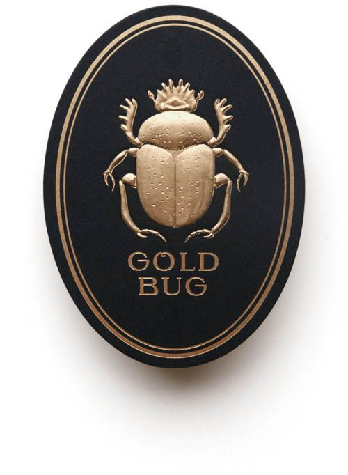 Pressure Printing's Identity for Gold Bug (front). I love that it looks like you can just pick up the gold beetle. It's more like a cool little object or memento than a business card. #businesscard #branding
