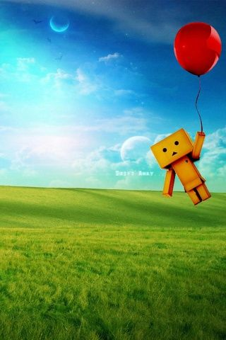 amazon Robot and Red Balloon iPhone Wallpaper