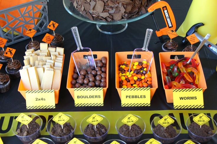 Construction Truck Birthday Party Dessert, Build Your Own Dirt Cup Toppings, 2x4s, Boulders, Pebbles, Worms