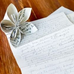 Easy instructions for an origami flower.  Get creative & use love letters, maps, pictures or any thing with special meaning.