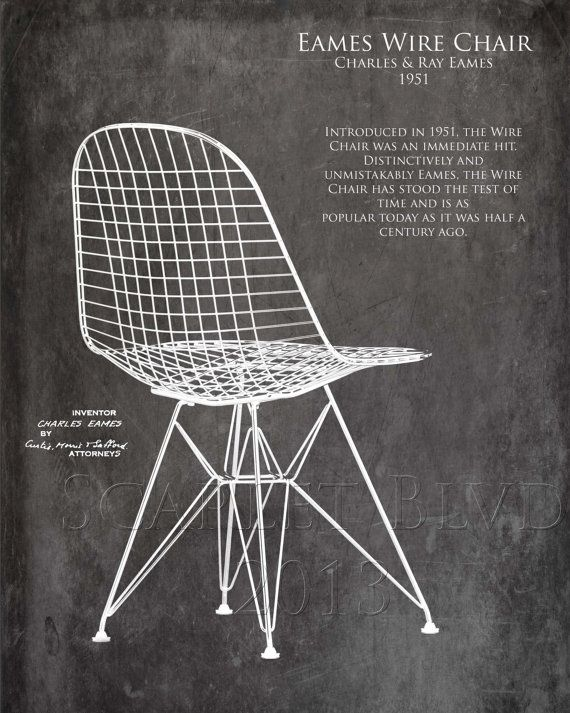 Eames Wire Chair Blueprint style art print by ScarletBlvd on Etsy