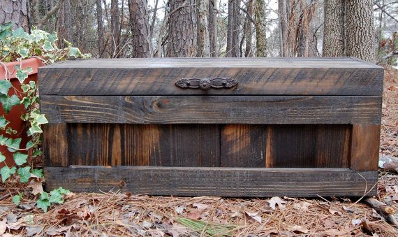 storage box out of pallets | Jacobean Hope Chest / Toy Box/Blanket Storage from Reclaimed Pallet