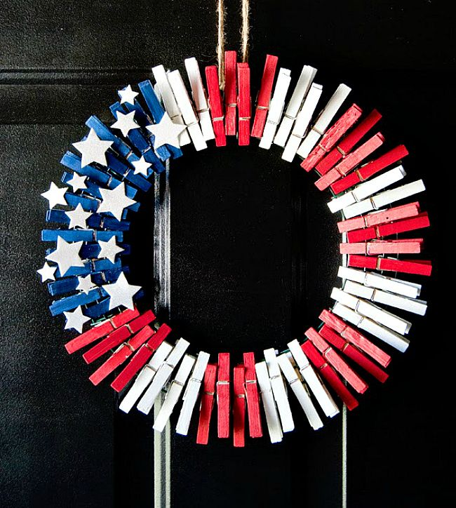 4th of July clothspin wreath