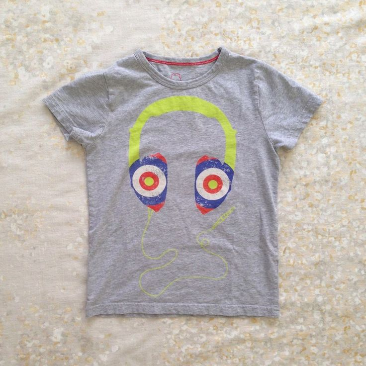 Mini Boden Boys' Sz 7 8 Shirt Heather Gray Headphones Colorful #MiniBoden #Everyday