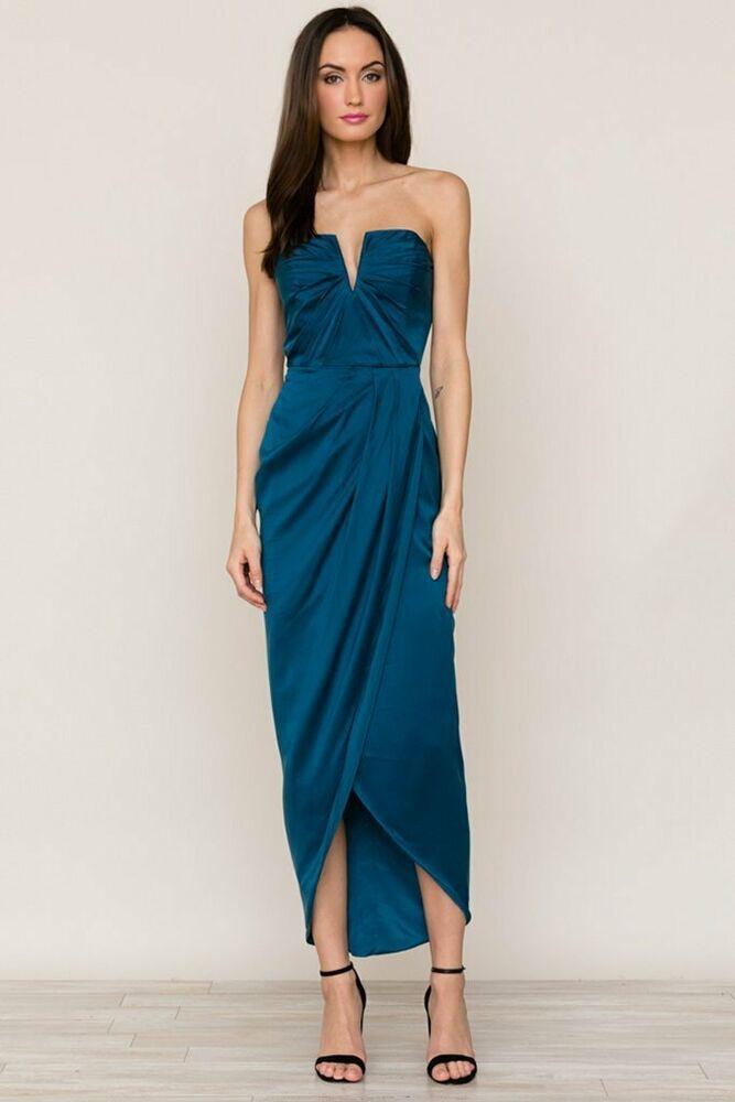 2f18c2b47843 NWT Yumi Kim Bombshell in Ink Blue Washed Silk Strapless Maxi Dress M $348 # YumiKim #MaxiDress #PartyCocktail