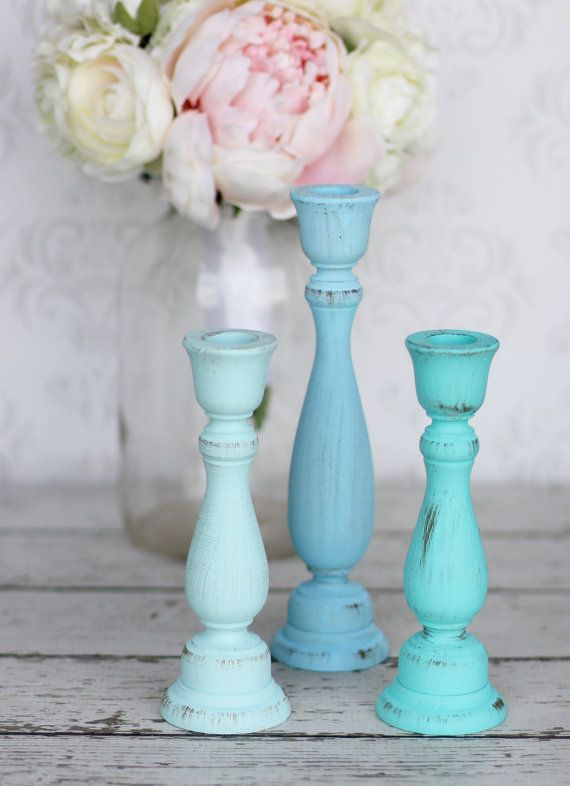 All shades of teal Shabby Chic Candle Holders Distressed Blue Rustic