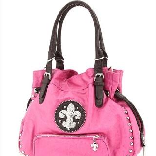 Pink Fleur de Lis purse