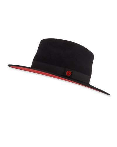 08b3947bb00e9 Keith and James Men's Queen Red-Brim Wool Fedora Hat, Black in 2019 ...