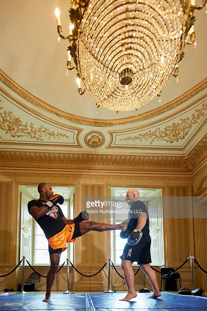 Jimi 'Poster Boy' Manuwa from USA works out during a UFC training session at Piwnica Pod Baranami Restaurant on February 25, 2015 in Krakow, Poland.