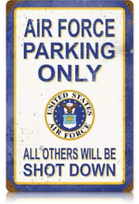 Vintage and Retro Wall Decor - JackandFriends.com - Retro Air Force Parking Tin Sign, $39.97 (http://www.jackandfriends.com/retro-air-force-parking-tin-sign/)