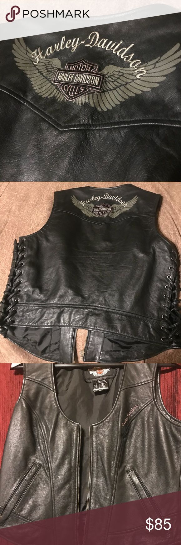 Ladies Lg. Harley Davidson Vest. Genuine leather shell zipper front and zippered pockets. Embroidered graphics on back yoke. Harley-Davidson Other