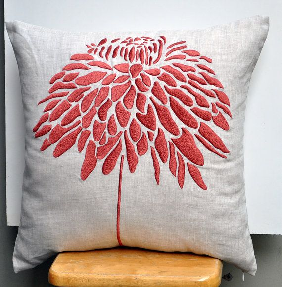 """Peony  FLower - Throw Pillow Cover - 18"""" x 18"""" Decorative Pillow Cover - Linen Color Linen with Orange Floral Pattern Embroidery. $24.00, via Etsy."""