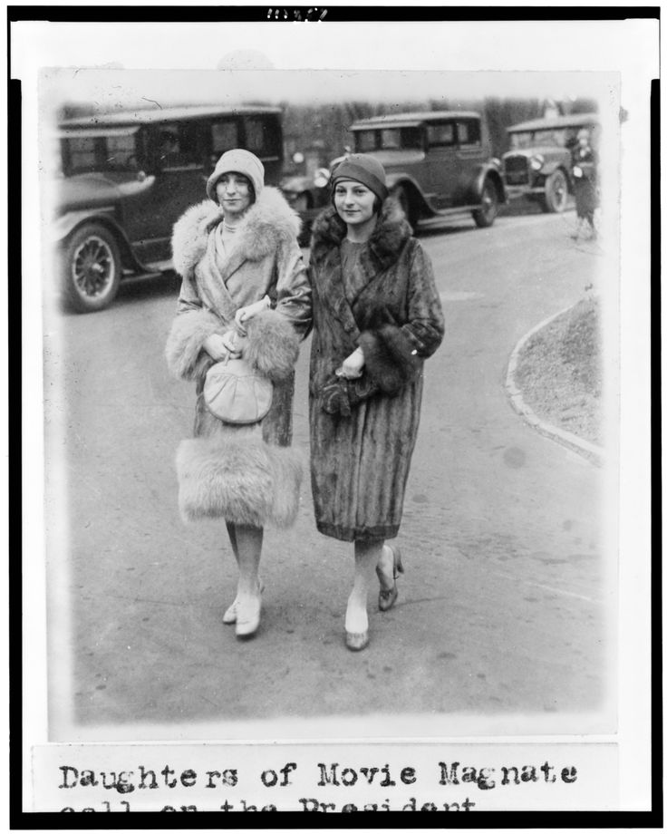 'Daughters of Movie Magnate call on the President [Calvin Coolidge]'. Misses Edith and Irene Mayer, daughters of Louis B Mayer
