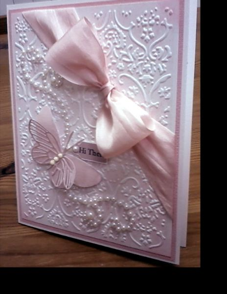 Butterfly with Pink ribbon embossing pearls card.  Love the diagonal ribbon!