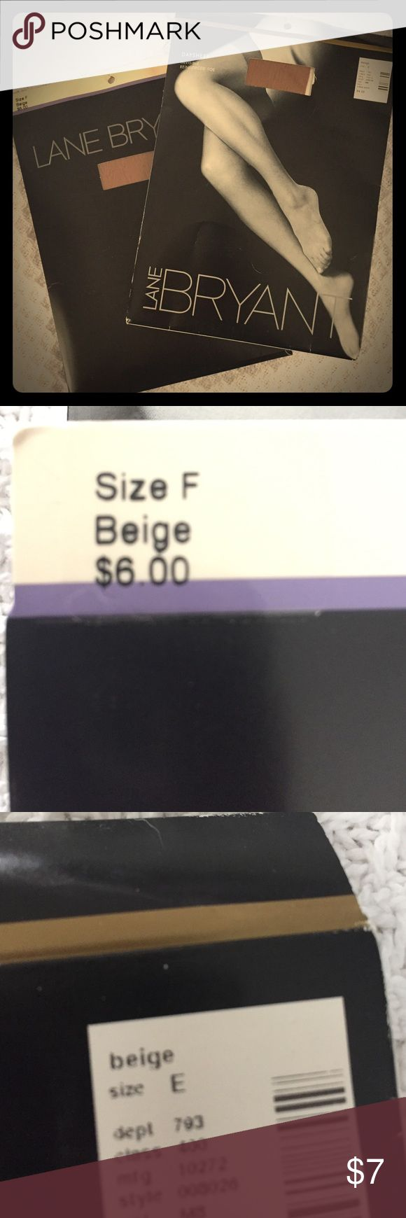 Lane Bryant Pantyhose - BRAND NEW IN PACKAGE Two Pair Lane Bryant pantyhose. Brand new in package.  Daysheer Control Top in Beige Size F and Daysheer Size E. Lane Bryant Accessories Hosiery & Socks