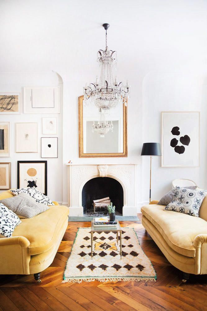 Glamorous Neutrals In A West Village Townhouse Living Room With Mustard Yellow Velvet Sofas Crysta Trending Decor Minimalist Living Room Decor Apartment Decor