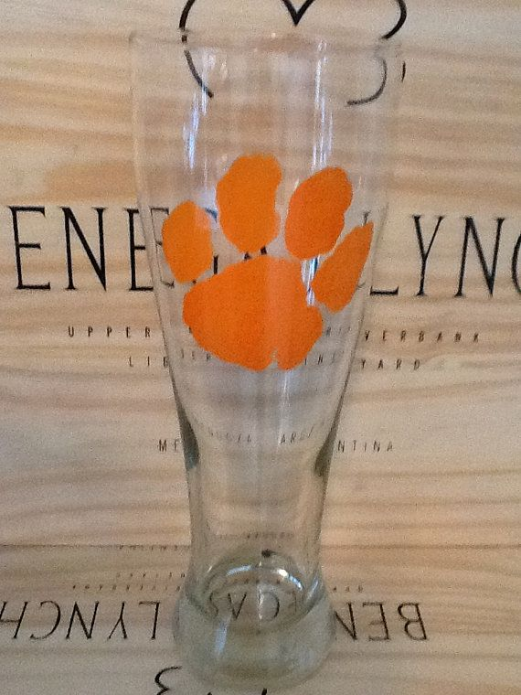 Hand+Painted+Clemson+Tigers+Pilsner+Glass+by+brandiedmonds+on+Etsy
