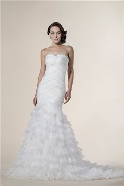 Natural Floor-Length Elegant & Luxurious Tiered Winter Trumpet/Mermaid Spring Summer Wedding Dress