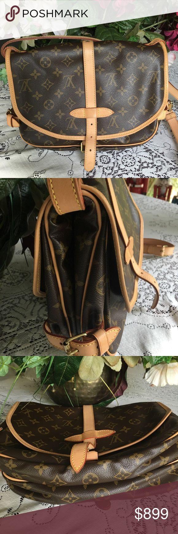 "Authentic Louis Vuitton Bag Authentic Louis Vuitton MonogramSaumur GM M40662 Shoulder Bag . Overall in very good condition. Size : H 7.87 W 11.81 D 3.93 "" Strap length : 42.91-49.99"" smoke fee Louis Vuitton Bags Shoulder Bags"