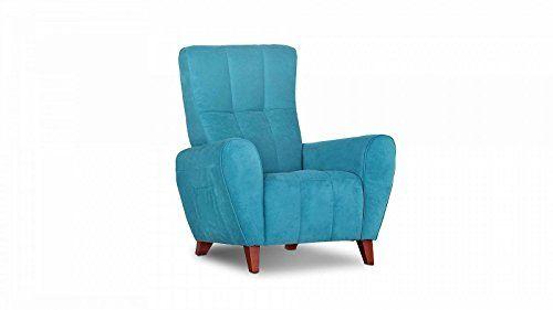 Ohrensessel RETRO t�rkis Vintage Holzf��e antik Sessel BIG g�nstig