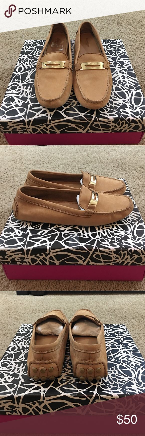 Coach camel suede loafer size 8.5 Coach camel suede loafer size 8.5 in good used condition Coach Shoes Flats & Loafers