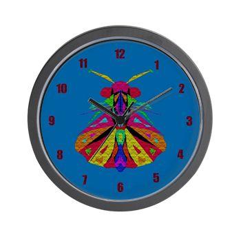 Mosaic Moth Clock Wall Clock