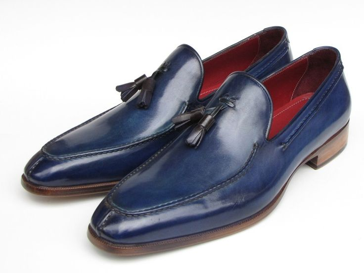 PAUL PARKMAN ® The Art of Handcrafted Men's Footwear - Paul Parkman Men's Tassel Loafer Blue Hand Painted Leather