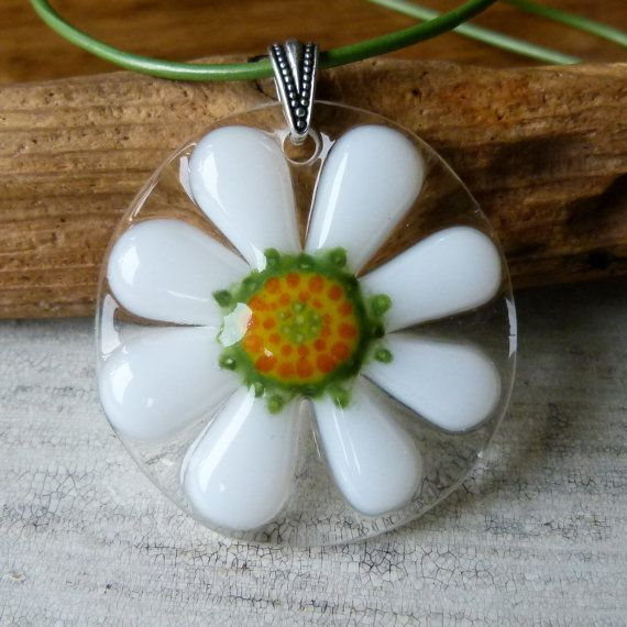 Daisy necklace   fused glass pendent by ArtoftheMoment on Etsy