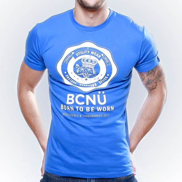 Long Island-TEE BLUE  This is our signature UtiliTEE featuring the BCNÜ emblem.    Constructed from 100% cotton jersey this UtiliTEE is useful, functional, versatile, sporty and has been designed for everyday use. Dress it up, dress it down, wear it in, wear it out. www.bcnuclothing.com