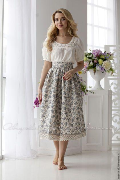 Купить или заказать Юбка 'Деревенька' в интернет-магазине на Ярмарке Мастеров. Летняя юбка в деревенском стиле в мелкий цветочек, сшита из натуральной ткани- лен+хлопок! Кружево- лен! Блуза не продается, представлена для примера с чем носить юбку. Перед добавлением в корзину просьба ознакомиться с правилами магазина!!!