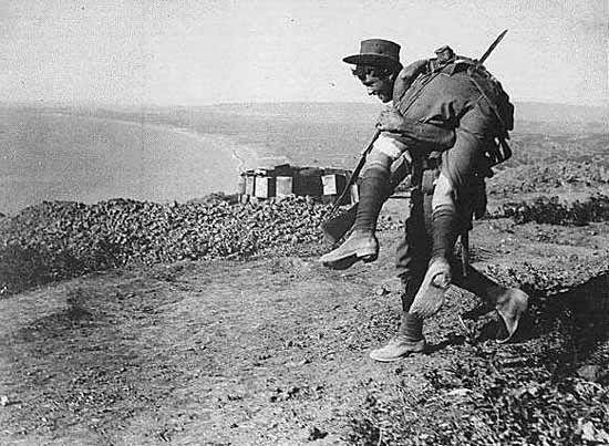 ANZAC soldier carrying a wounded comrade in Gallipoli