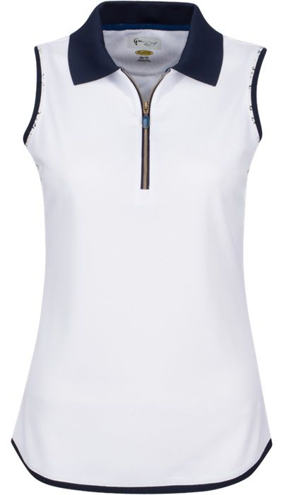 Skins Game (White) Greg Norman Ladies Sleeveless Zip Contrast Trim Golf Polo Shirt! Find more stylish ladies outfits at #lorisgolfshoppe