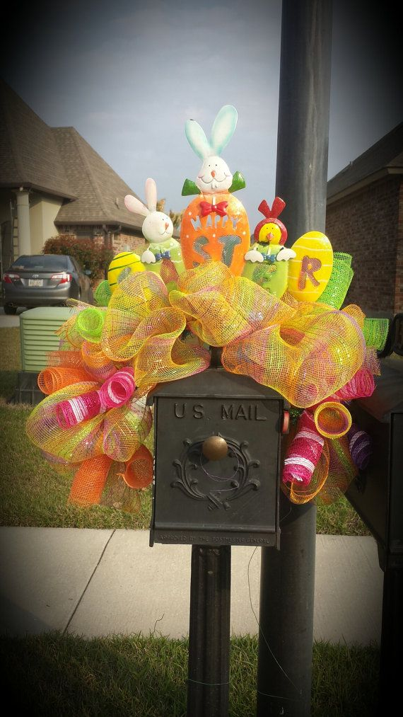 Decorative easter mailbox cover can me made to match existing wreaths or new wreaths. This cute cover is made from spring color mesh accented with