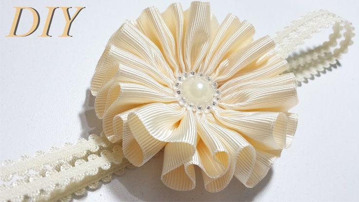 Wie man Haarschleifen macht DIY # 87 Grosgrain Flower Tutorial – YouTube   – DIY and crafts