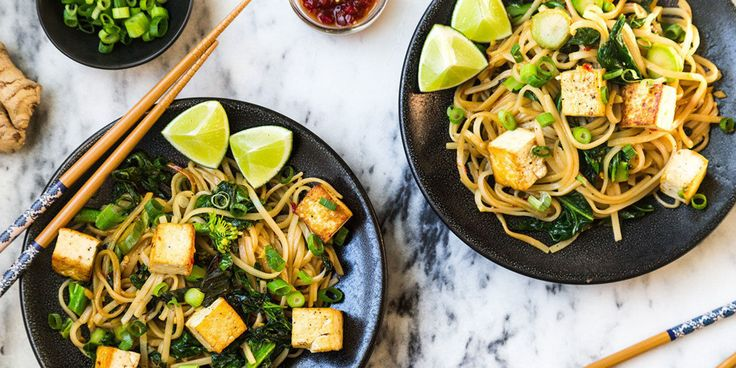 Drunken Noodles with Tofu and Chinese Broccoli  image