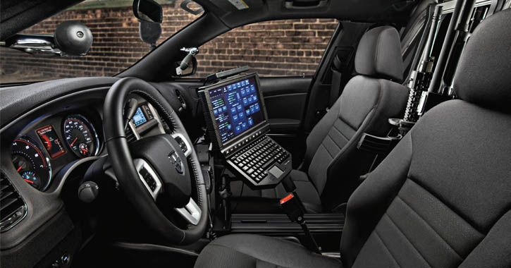Interior of the 2014 Dodge Charger Pursuit police car - click for link to Chrysler's official fleet website for Police vehicle information.