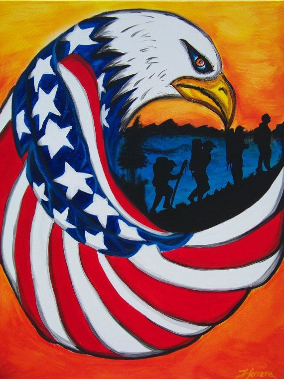 Patriotic Motivational Acrylic On Canvas By