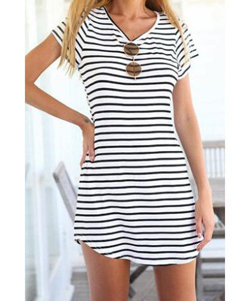 Women's Striped Short Sleeve Dress