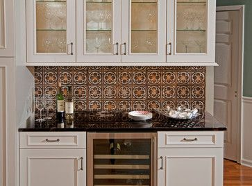 Coppery Tin Backsplash Looks Better With Off White Cabinets Than The Silver Finish