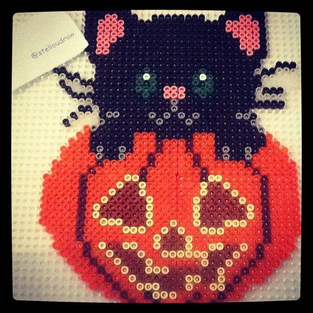 Little black cat on the pumpkin- Halloween perler beads by stelloudraw