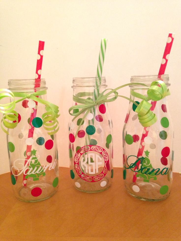 Starbucks frappuccino bottles repurposed vinyl for Christmas crafts with milk jugs