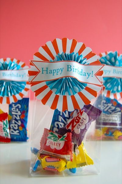 Happy Birthday Bags -- might be cute to assemble for primary teachers rather than give them one big candy bar.