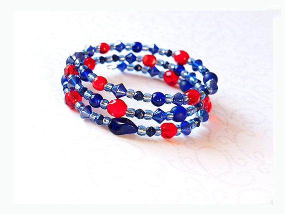 Blue and red memory wire bracelet