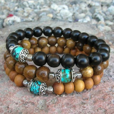 confidence and communication - set of 3 mala bracelets, sandalwood, ebony, turquoise guru bead
