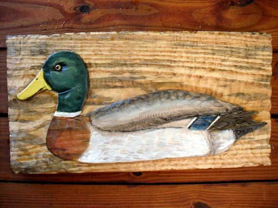 "Ánade pato 24"" motosierra socorro aves silvestres talla madera pato señuelo escultura decoración para el hogar pared monte lago refugio vida silvestre rústico arte"