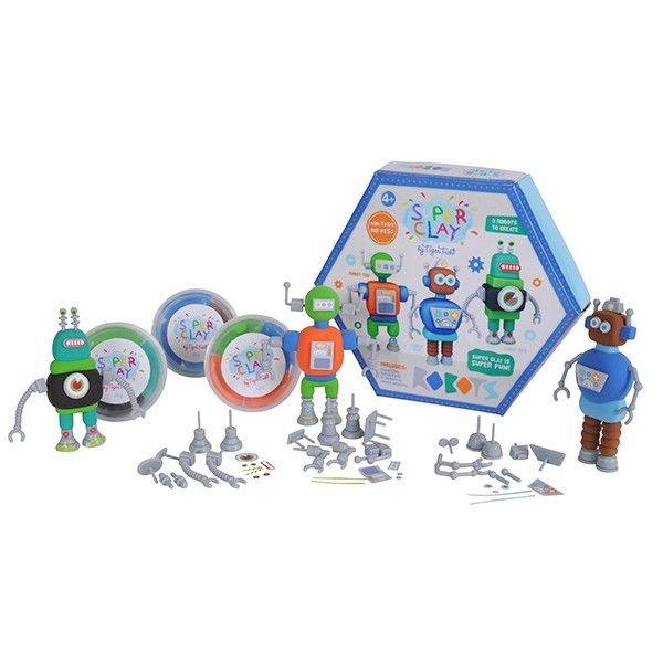 Super Clay Robots - Although it may look and feel like ordinary plasticine, Super Clay has some fantastic qualities!!  Our favourite being that it is completely reusable, even after being air dried.  A fantastic crafty set for the little boys in your life!! $25 at Kids Toys to You.  www.kidstoystoyou.com.au