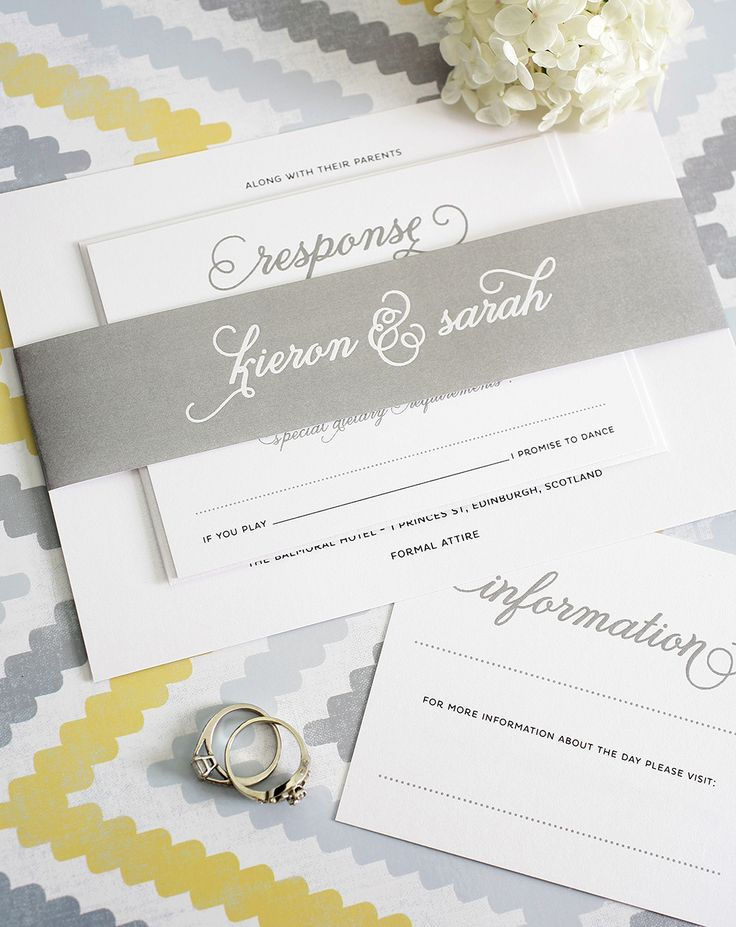 are labels on wedding invitations tacky%0A Classic Whimsy Wedding Invitations  Invitations with big script names in  pewter gray