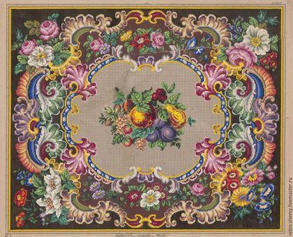 Купить или заказать Схема вышивки 'Фруктовый ковер' в интернет-магазине на Ярмарке Мастеров. Авторская реконструкция старинной схемы для вышивания крестом 1845-1869 годов по старинному, раскрашенному вручную бумажному шаблону. Издательство Seiffert & Co. К схеме прилагается ключ в цветовой палитре ниток DMC, а также возможные размеры готовой вышивки на 14, 16, 18 и 25 канве.…