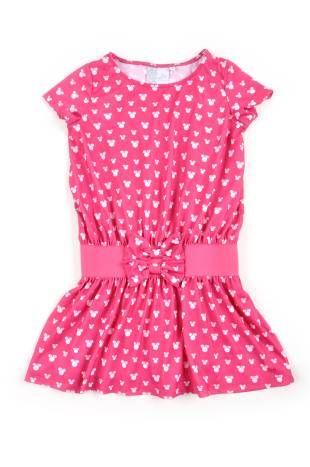 Vestido para niña, en color fuchsia y con estampados en blanco.