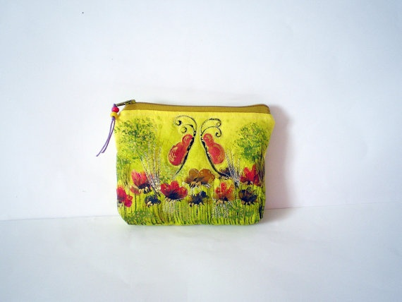 Handpainted quilted coin purse in yellow with flower by Crearts, $22.00